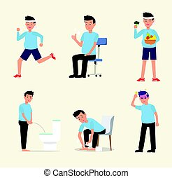 Man flat character activity healthy life style set vector.