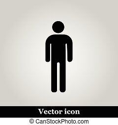 Man flat icon on grey background