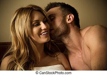man, flirten, met, vrouw