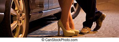 Man flirting with prostitute