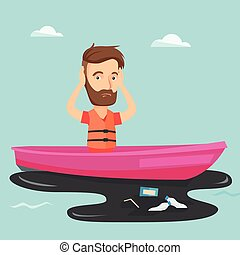 Man floating in a boat in polluted water.