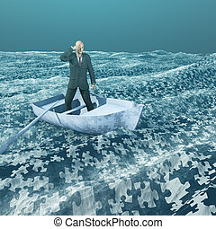 Man floating on puzzle piece sea