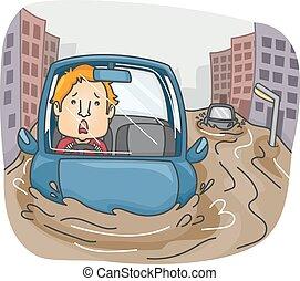 Man Flood Highway