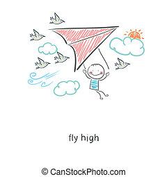 Man flying a hang glider. Illustration.