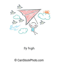 Man flying a hang glider. Illustration.