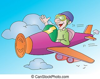 Man Flying an Airplane, illustration
