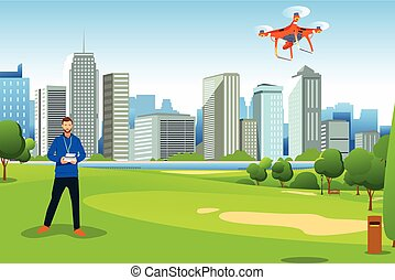 Man Flying Drone in a Park Illustration