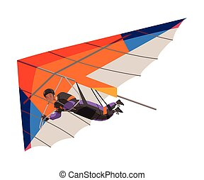 Man Flying Hang Glider as Skydiving Extreme Sport Activity Vector Illustration. Male Engaged in Air Sport or Recreational Activity Concept