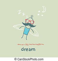 man flying in a dream