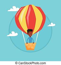 Man flying in hot air balloon vector illustration.