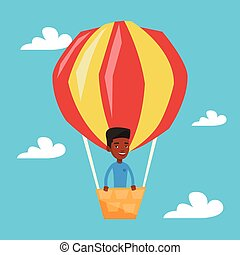 Man flying in hot air balloon vector illustration.