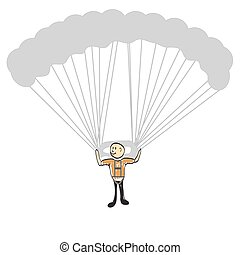 man flying on a hang glider illustration