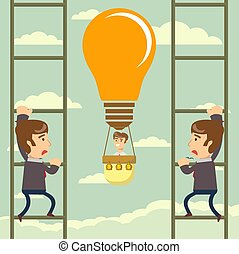 Man flying on idea balloon. Business boost concept, startup.