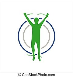 man flying with his wings freedom logo design vector illustration