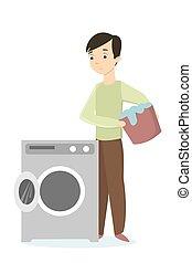 Man folding washing machine.