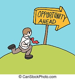 man following opportunity ahead sign