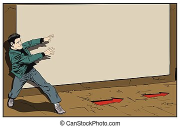 Man follows arrows. Advertising stand. Stock illustration.