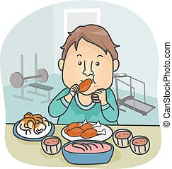 Man Food After Work Out - Illustration of a Man in Workout...