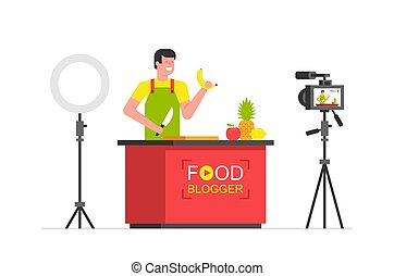 Man Food blogger working in the kitchen. Making a video. flat style. isolated on white background