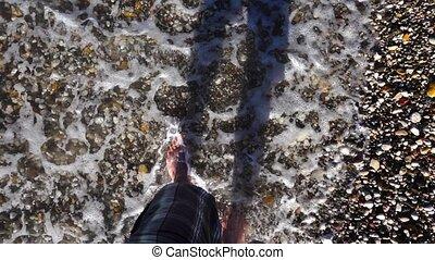 Man Foot in Sea Waves