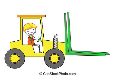man forklift car
