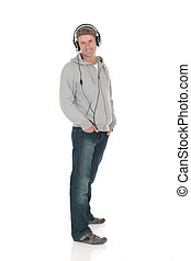 Man forties headset - Handsome man in forties with headset....