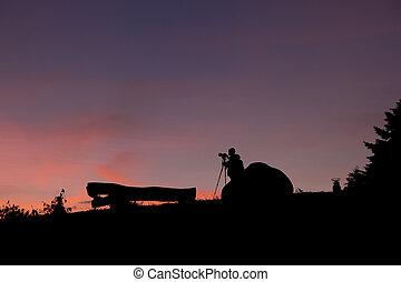 man, fototoestel, silhouette