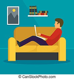 Man freelancer at sofa concept background, flat style