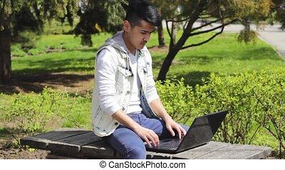 Man freelancer having headache during work on laptop....