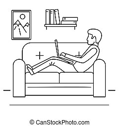 Man freelancer sofa concept background, outline style