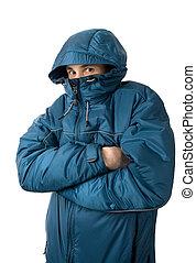 man freezing. Isolated on white background
