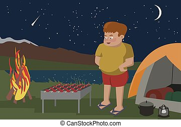 man fries meat on a grill at camping area