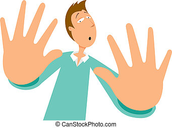 Cartoon illustration of scared man rejecting with his hands
