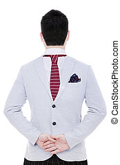 man from behind on white background