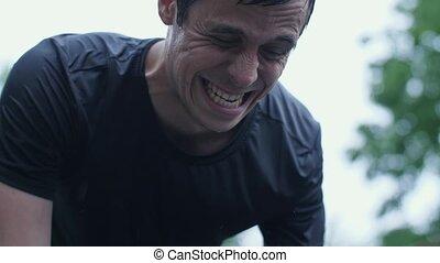 Sportsman training in the rain