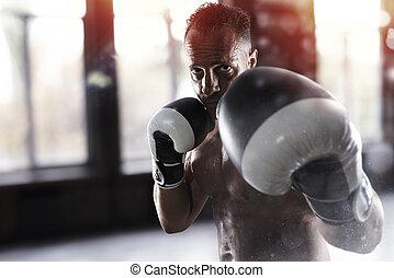 man, gör, boxning, genomkörare, hos, den, gymnastiksal