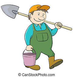 Man gardener with bucket and shovel - Man gardener with a...