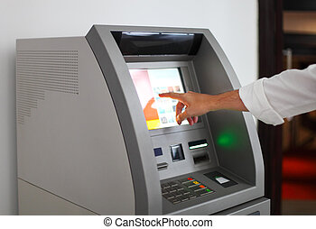 man, gebruik, bankwezen machine