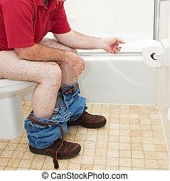 man, gebruik, toilet papier, in, badkamer