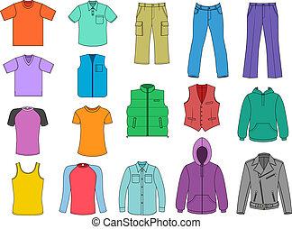 man, gekleurde, verzameling, kleren