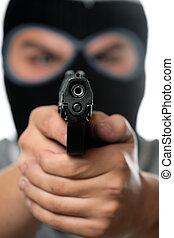 man, gemaskerd, geweer