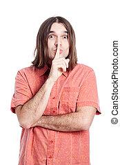 Man gesturing silence