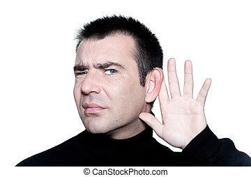 man gesturing with hearing aid speak up