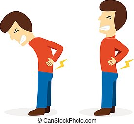 Man get pain from backache on white cartoon vector design