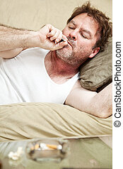 Man Gets High - Middle aged man in his underwear getting ...
