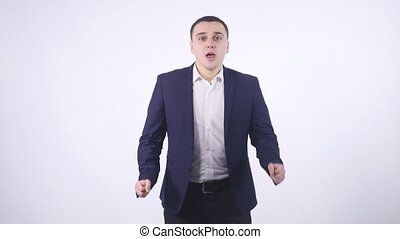 man getting excited by results on white background
