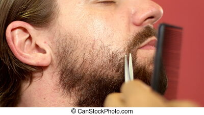 Man getting his beard trimmed with scissors 4k - Close up of...