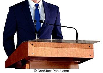 man, geven, toespraak