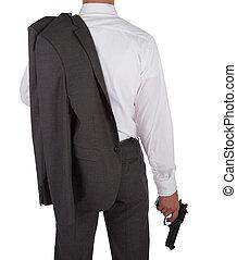 man, geweer, vasthouden, kostuum