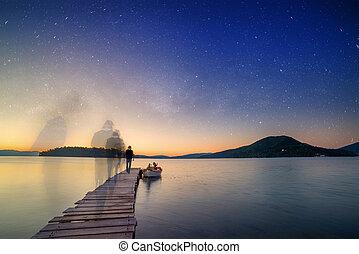 Man ghosty silhouette walking on The pier